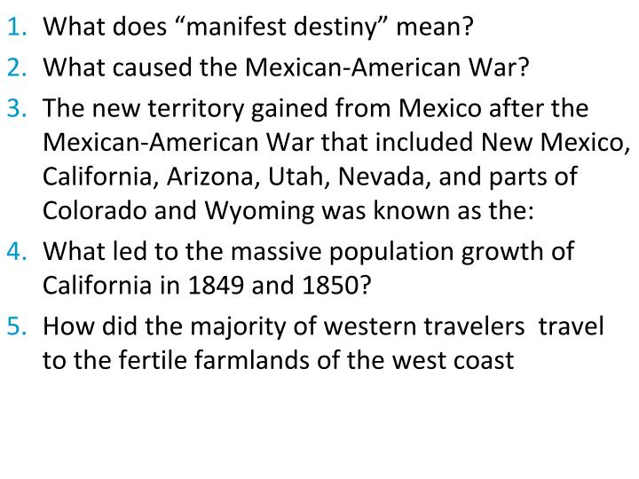 "What does ""manifest destiny"" mean?"