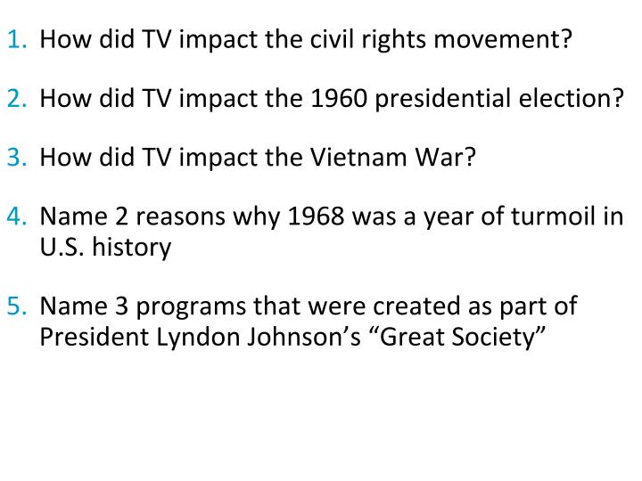 How did TV impact the civil rights movement?