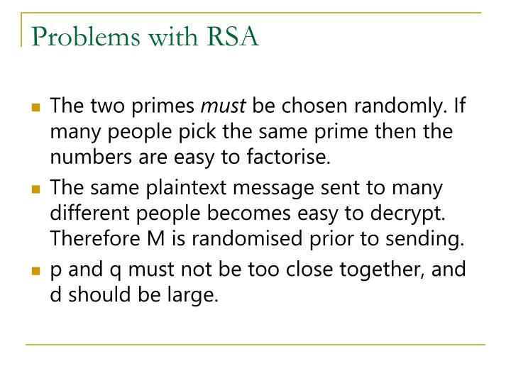 Problems with RSA