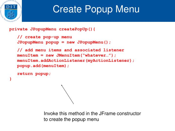 Create Popup Menu