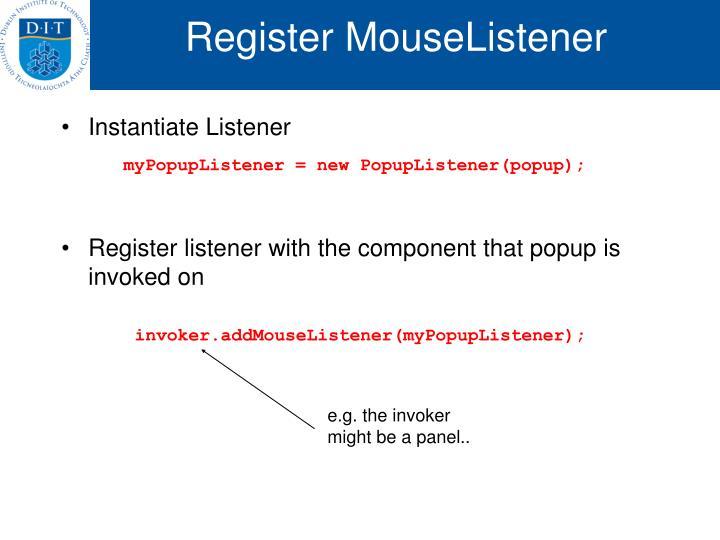 Register MouseListener