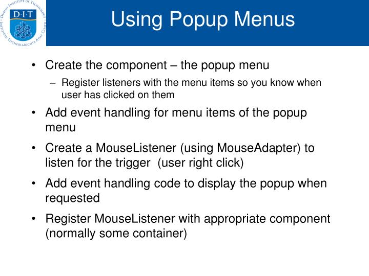 Using Popup Menus