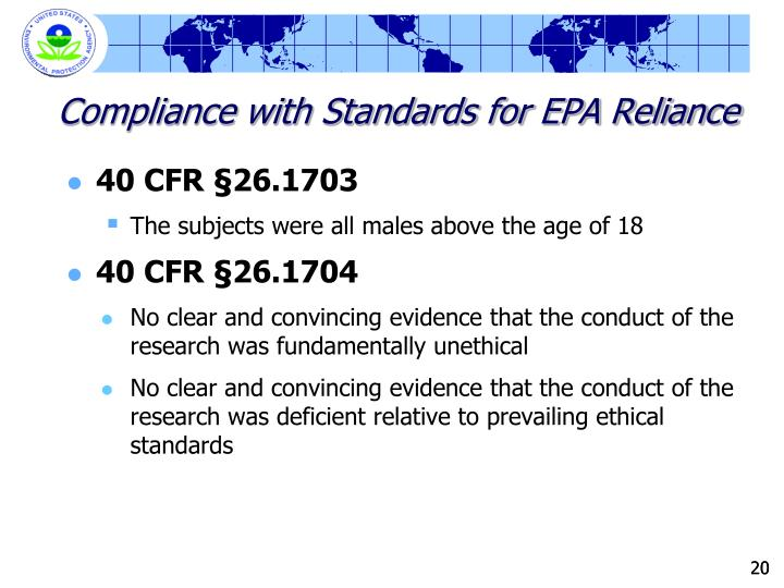 Compliance with Standards for EPA Reliance