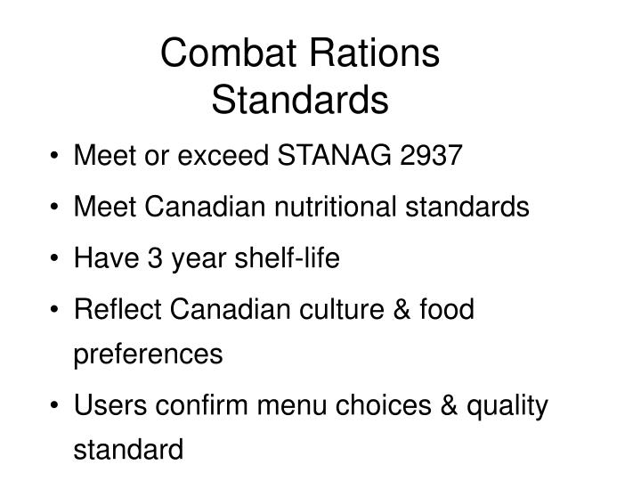 Combat Rations Standards