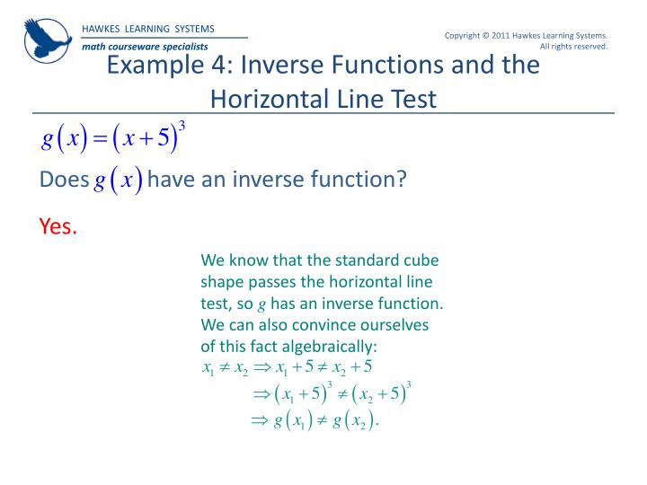 Example 4: Inverse Functions and the Horizontal Line Test