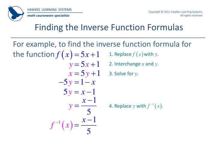 Finding the Inverse Function Formulas