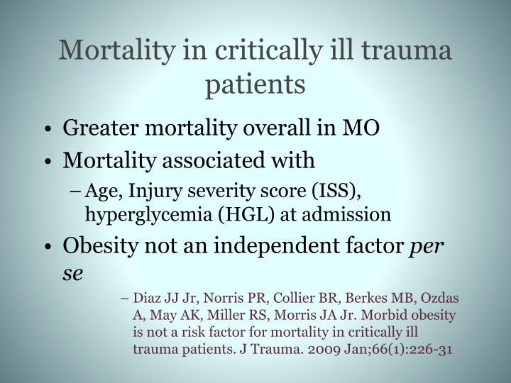Mortality in critically ill trauma patients