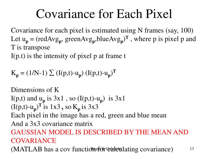 Covariance for Each Pixel
