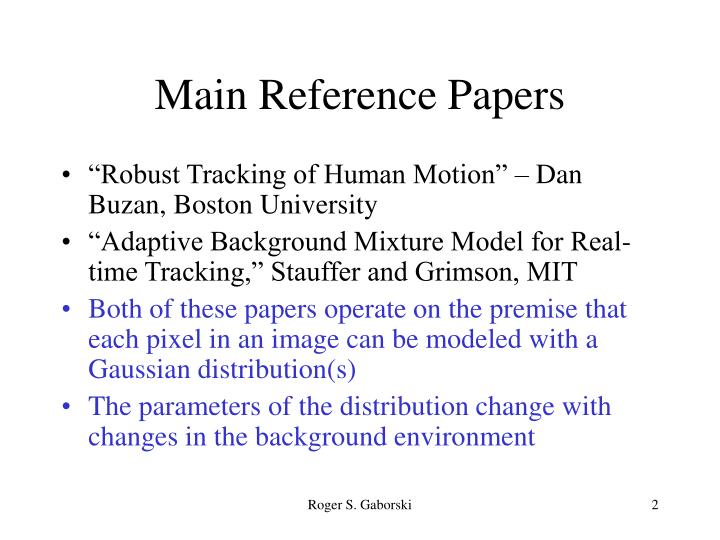 Main reference papers