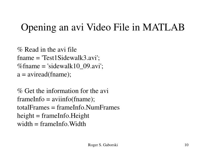 Opening an avi Video File in MATLAB