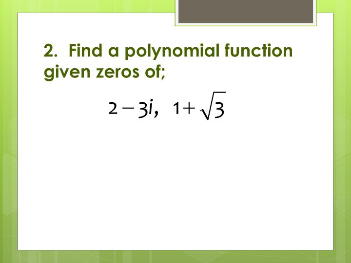 ppt - solving polynomial functions involving complex numbers powerpoint presentation