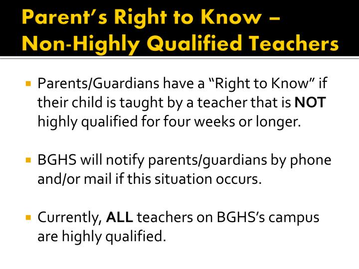 Parent's Right to Know –