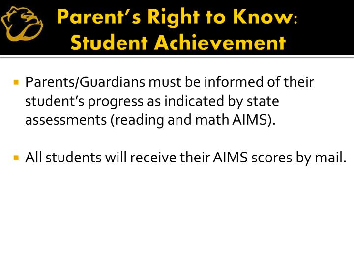 Parent's Right to Know: