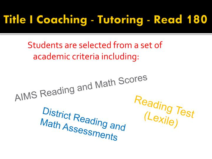 Title I Coaching - Tutoring - Read