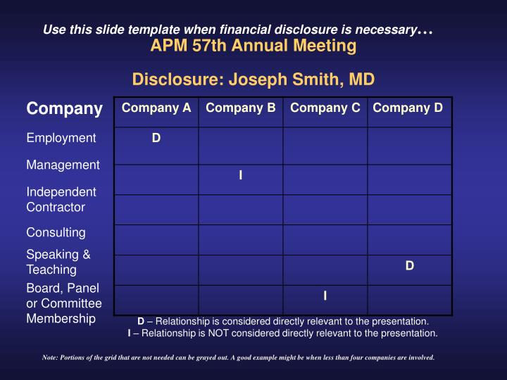 Apm 57th annual meeting disclosure joseph smith md