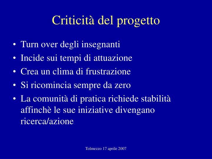 Criticità del progetto