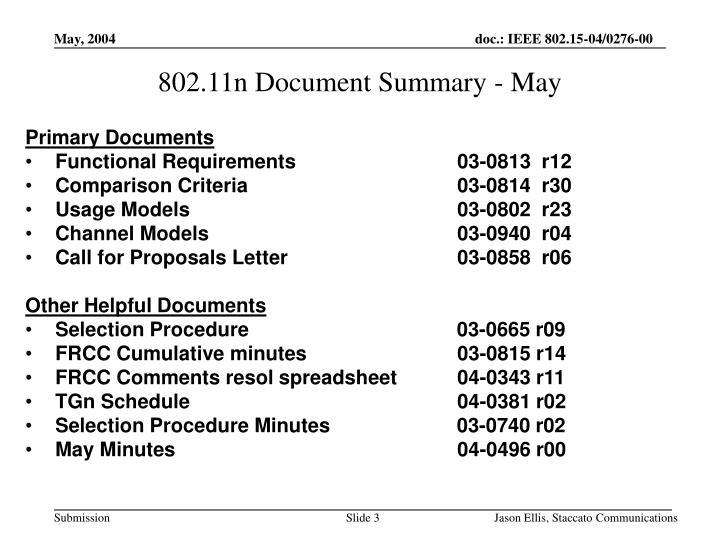 802.11n Document Summary - May