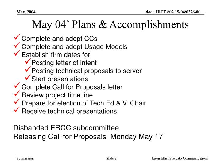 May 04 plans accomplishments