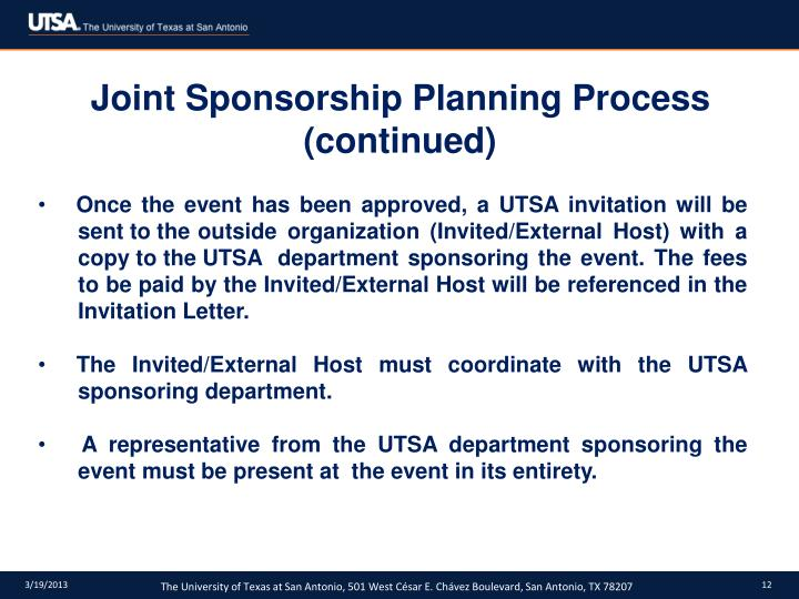 Joint Sponsorship Planning Process (continued)