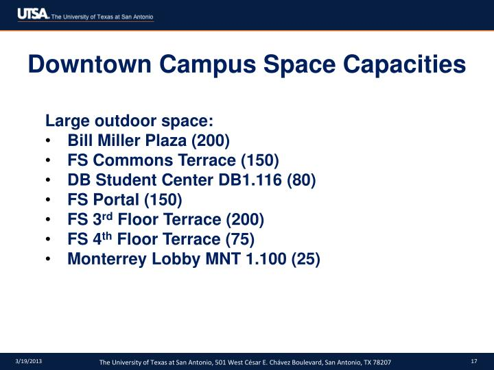Downtown Campus Space Capacities