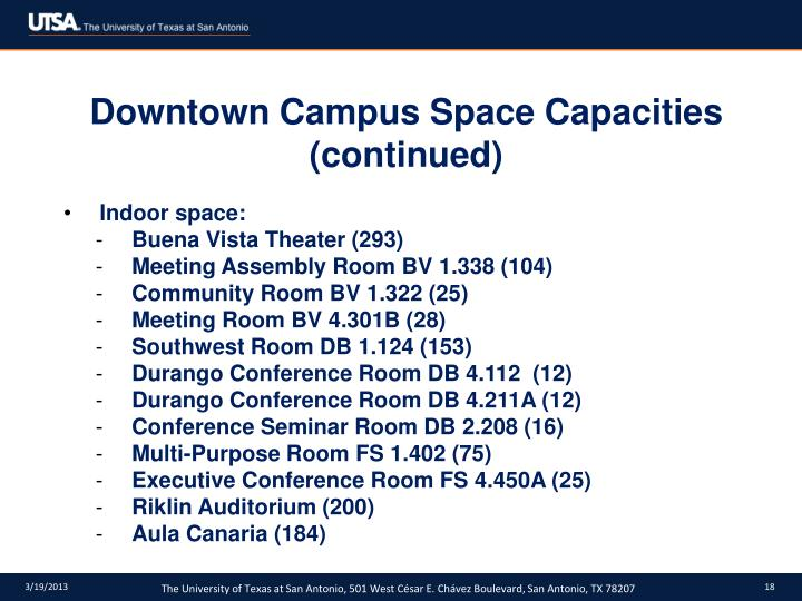 Downtown Campus Space Capacities (continued)