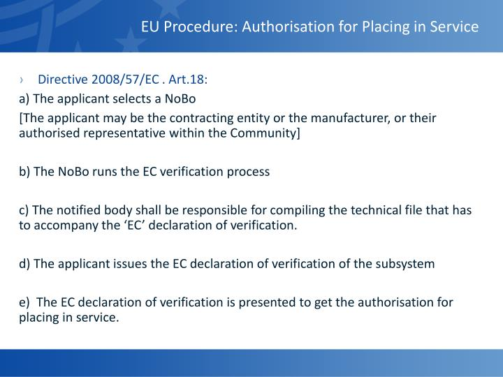 EU Procedure: Authorisation for Placing in Service