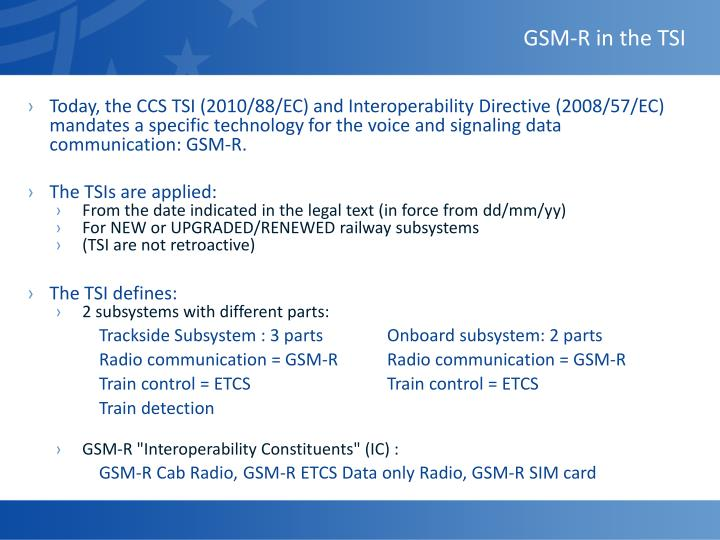 GSM-R in the TSI
