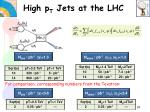 high p t jets at the lhc