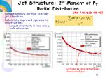 jet structure 2 nd moment of p t radial distribution