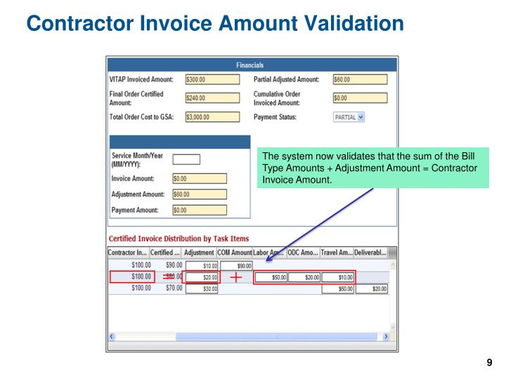 Contractor Invoice Amount Validation