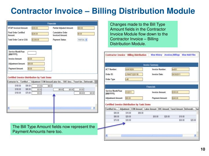 Contractor Invoice – Billing Distribution Module