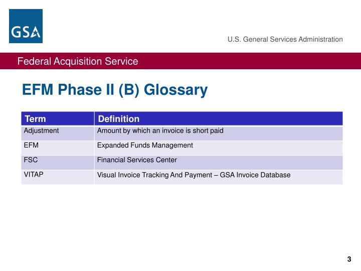 EFM Phase II (B) Glossary