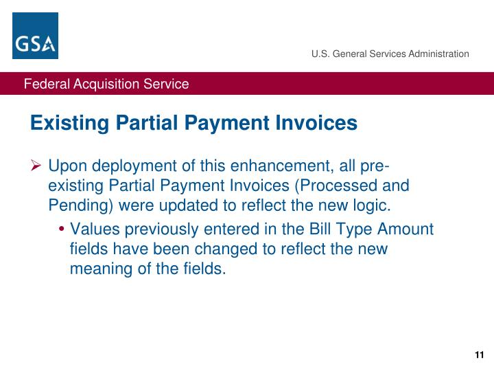Existing Partial Payment Invoices