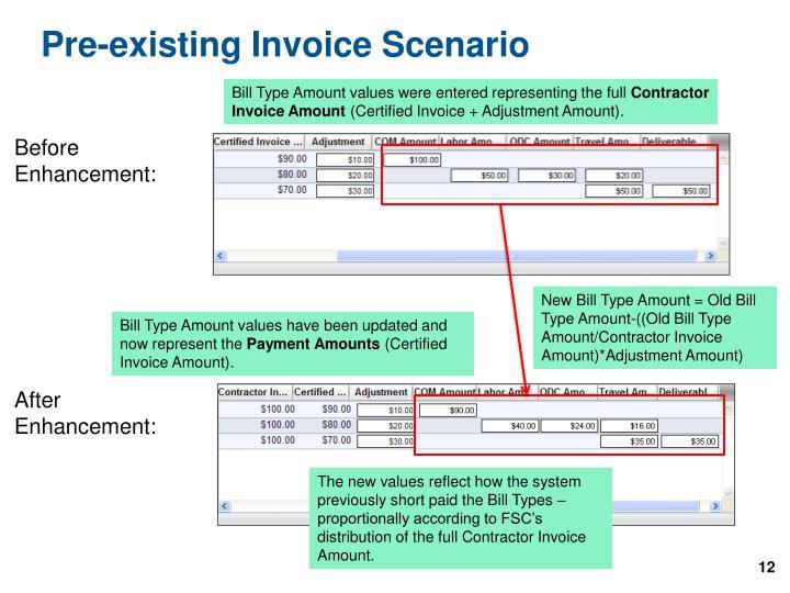 Pre-existing Invoice Scenario