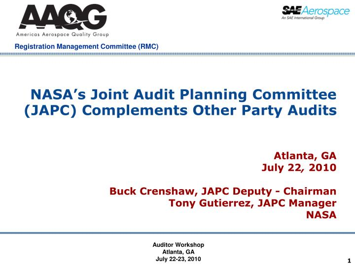 Nasa s joint audit planning committee japc complements other party audits