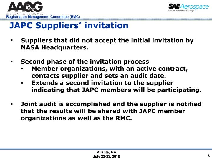 JAPC Suppliers' invitation