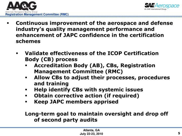 Continuous improvement of the aerospace and defense industry's quality management performance and enhancement of JAPC confidence in the certification schemes