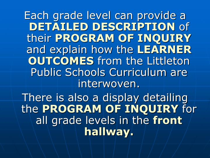 Each grade level can provide a
