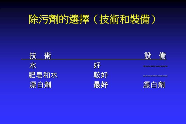 除污劑的選擇(技術和裝備)