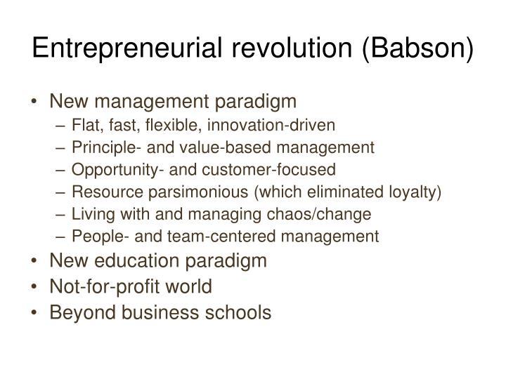 Entrepreneurial revolution (Babson)