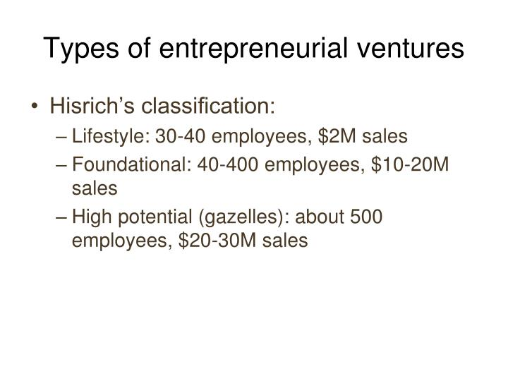 Types of entrepreneurial ventures