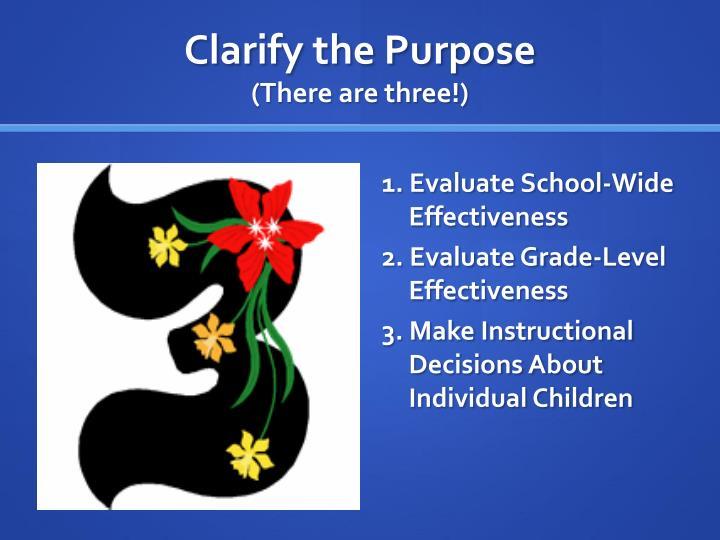 Clarify the Purpose