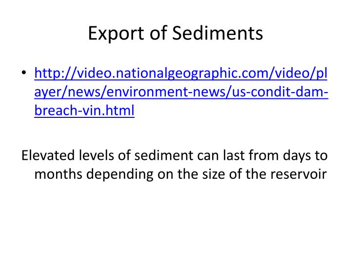 Export of Sediments