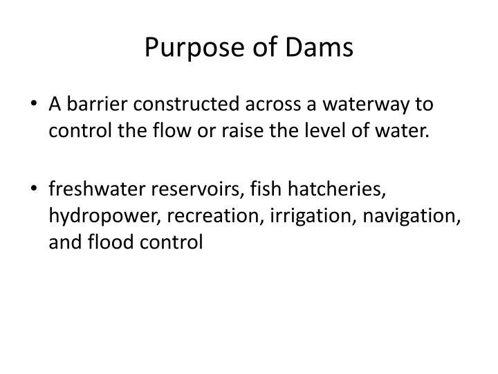Purpose of Dams