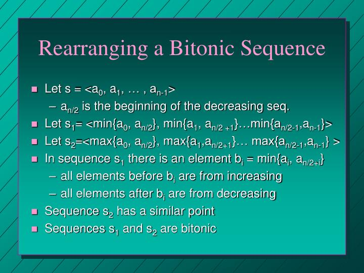 Rearranging a Bitonic Sequence