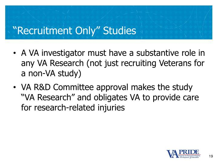 """Recruitment Only"" Studies"