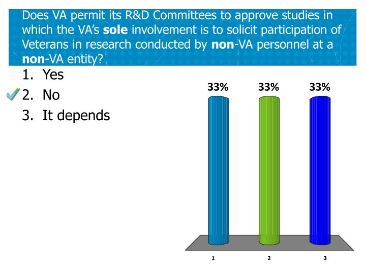 Does VA permit its R&D Committees to approve studies in which the VA's