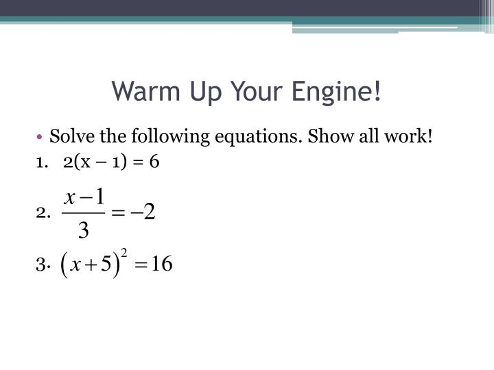 Warm up your engine