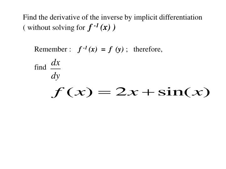 Find the derivative of the inverse