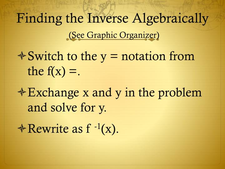 Finding the Inverse Algebraically